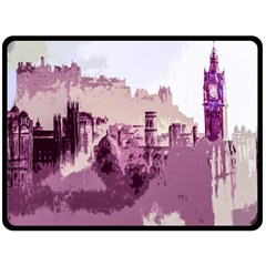 Abstract Painting Edinburgh Capital Of Scotland Double Sided Fleece Blanket (large)