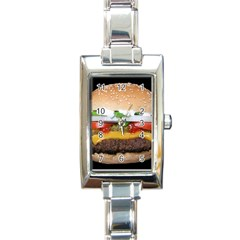 Abstract Barbeque Bbq Beauty Beef Rectangle Italian Charm Watch