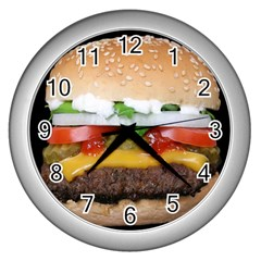 Abstract Barbeque Bbq Beauty Beef Wall Clock (silver)