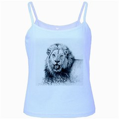 Lion Wildlife Art And Illustration Pencil Baby Blue Spaghetti Tank