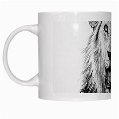 Lion Wildlife Art And Illustration Pencil White Mugs by Samandel
