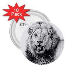 Lion Wildlife Art And Illustration Pencil 2 25  Buttons (10 Pack)