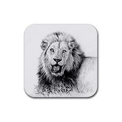 Lion Wildlife Art And Illustration Pencil Rubber Square Coaster (4 Pack)  by Samandel