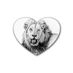 Lion Wildlife Art And Illustration Pencil Heart Coaster (4 Pack)  by Samandel