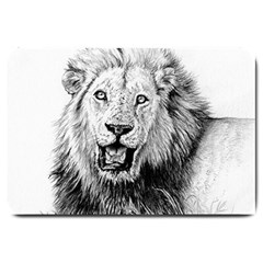Lion Wildlife Art And Illustration Pencil Large Doormat