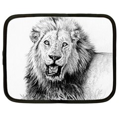 Lion Wildlife Art And Illustration Pencil Netbook Case (xxl) by Samandel