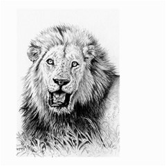 Lion Wildlife Art And Illustration Pencil Small Garden Flag (two Sides) by Samandel