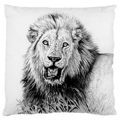 Lion Wildlife Art And Illustration Pencil Large Cushion Case (two Sides)