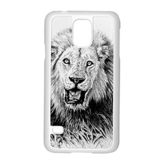 Lion Wildlife Art And Illustration Pencil Samsung Galaxy S5 Case (white)