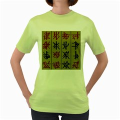 Ancient Chinese Secrets Characters Women s Green T Shirt