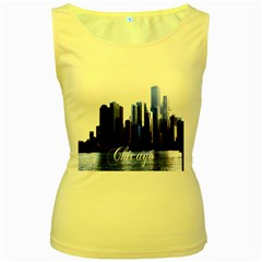 Abstract Of Downtown Chicago Effects Women s Yellow Tank Top
