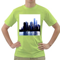 Abstract Of Downtown Chicago Effects Green T Shirt
