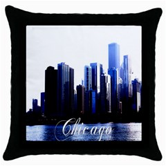 Abstract Of Downtown Chicago Effects Throw Pillow Case (black) by Samandel