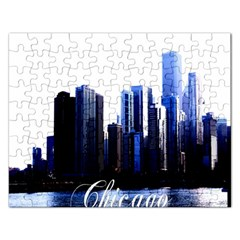 Abstract Of Downtown Chicago Effects Rectangular Jigsaw Puzzl by Samandel