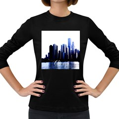 Abstract Of Downtown Chicago Effects Women s Long Sleeve Dark T Shirt