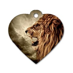 Roaring Lion Dog Tag Heart (one Side)