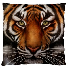 The Tiger Face Large Flano Cushion Case (one Side)