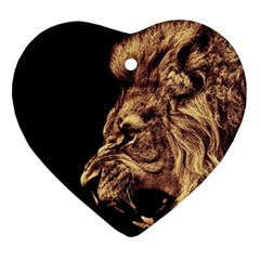 Angry Male Lion Gold Ornament (heart) by Samandel