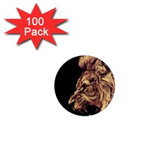 Angry Male Lion Gold 1  Mini Magnets (100 Pack)