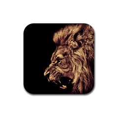 Angry Male Lion Gold Rubber Coaster (square)