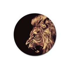 Angry Male Lion Gold Magnet 3  (round)