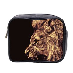 Angry Male Lion Gold Mini Toiletries Bag (two Sides)