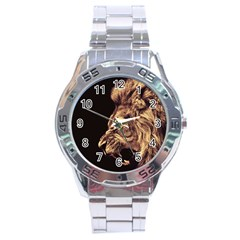 Angry Male Lion Gold Stainless Steel Analogue Watch