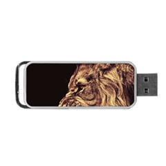 Angry Male Lion Gold Portable Usb Flash (two Sides) by Samandel