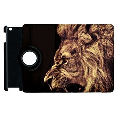Angry Male Lion Gold Apple Ipad 2 Flip 360 Case