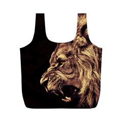 Angry Male Lion Gold Full Print Recycle Bag (m)