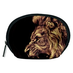 Angry Male Lion Gold Accessory Pouch (medium) by Samandel