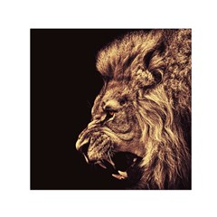 Angry Male Lion Gold Small Satin Scarf (square)