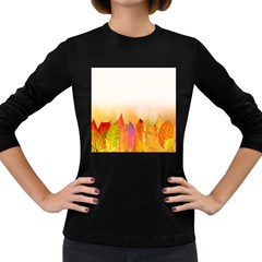 Autumn Leaves Colorful Fall Foliage Women s Long Sleeve Dark T Shirt