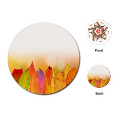 Autumn Leaves Colorful Fall Foliage Playing Cards (round) by Samandel