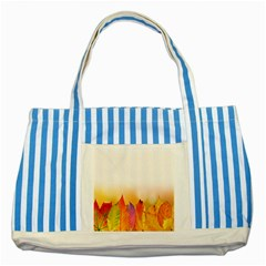 Autumn Leaves Colorful Fall Foliage Striped Blue Tote Bag by Samandel