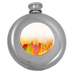 Autumn Leaves Colorful Fall Foliage Round Hip Flask (5 Oz) by Samandel