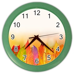 Autumn Leaves Colorful Fall Foliage Color Wall Clock by Samandel