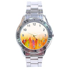 Autumn Leaves Colorful Fall Foliage Stainless Steel Analogue Watch by Samandel