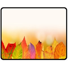 Autumn Leaves Colorful Fall Foliage Double Sided Fleece Blanket (medium)  by Samandel