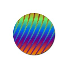 Abstract Fractal Multicolored Background Rubber Coaster (round)  by Samandel