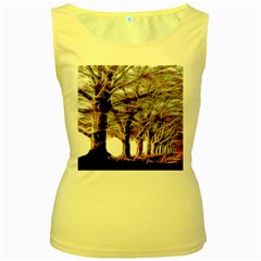 Autumn Fractal Forest Background Women s Yellow Tank Top by Samandel