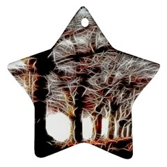 Autumn Fractal Forest Background Star Ornament (two Sides) by Samandel