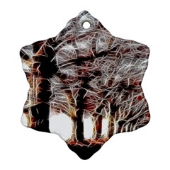 Autumn Fractal Forest Background Snowflake Ornament (two Sides)