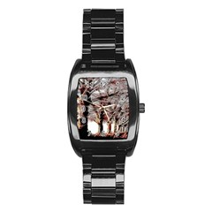 Autumn Fractal Forest Background Stainless Steel Barrel Watch by Samandel