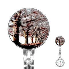Autumn Fractal Forest Background Stainless Steel Nurses Watch