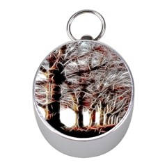 Autumn Fractal Forest Background Mini Silver Compasses