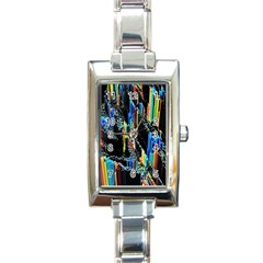 Abstract 3d Blender Colorful Rectangle Italian Charm Watch
