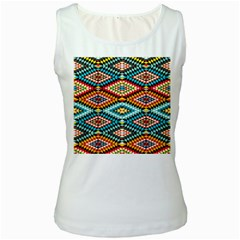 African Tribal Patterns Women s White Tank Top