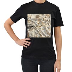Background Structure Abstract Grain Marble Texture Women s T Shirt (black) (two Sided)