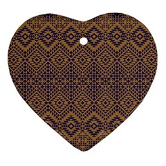 Aztec Pattern Heart Ornament (two Sides) by Samandel